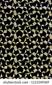 Abstract geometric pattern with lines, rhombuses and traingles as  seamless vector background with black and gold colors