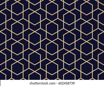 Abstract geometric pattern with lines, rhombuses A seamless  background. Blue-black and gold texture.