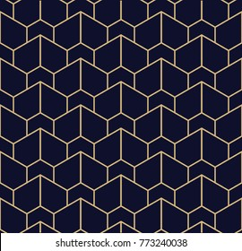Abstract geometric pattern with lines. A seamless  background. Blue black and gold texture