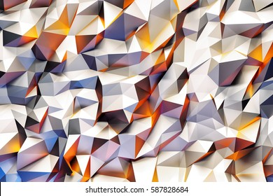 Abstract geometric pattern with purple, yellow and white three dimensional triangles.