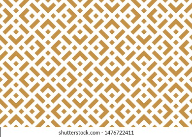 Abstract geometric pattern. A seamless background. White and gold ornament. Graphic modern pattern. Simple lattice graphic design