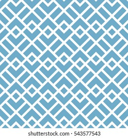 Abstract geometric pattern with squares, rhombuses. A seamless background. Blue and white graphic pattern