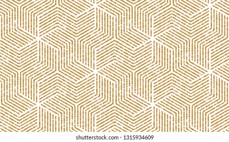 Abstract geometric pattern with stripes, lines. Seamless background. White and gold ornament. Simple lattice graphic design