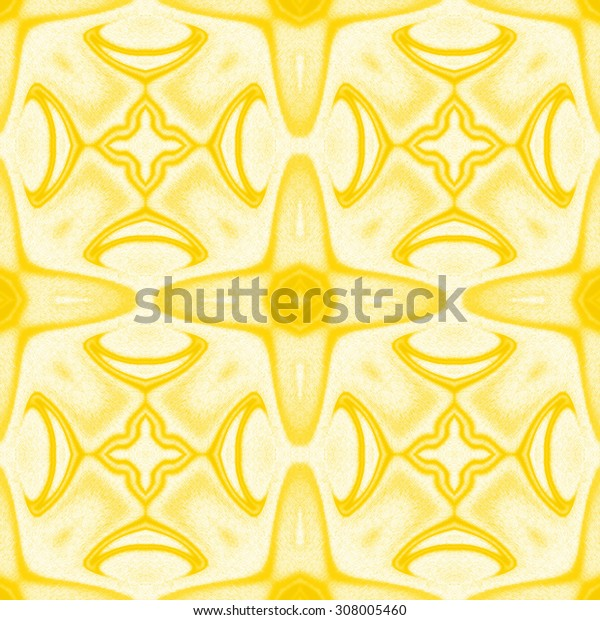 abstract geometric pattern, yellow crayon painting