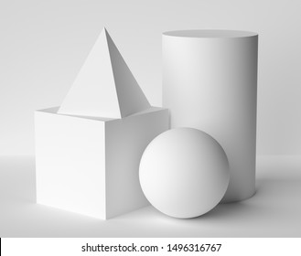 Abstract geometric platonic solids figures still life composition. Three-dimensional pyramid cube cylinder sphere white objects with shadows on white background. Simple 3d render illustration