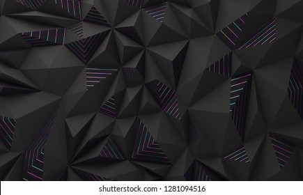 Abstract geometric polygonal structure, black with metallic lines. 3D render