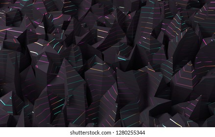 Abstract geometric polygonal structure with metallic lines. 3D render / rendering.