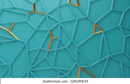 Abstract geometric polygonal structure with metallic accents. 3D render