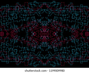 abstract geometric rectangular red blue lines on black background