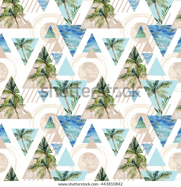 Abstract geometric seamless pattern. Circles, triangles with palm tree, leaf and marble grunge textures. Summer beach background in retro vintage 80s or 90s. Hand painted illustration