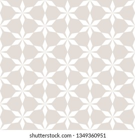 Abstract geometric seamless pattern. Floral grid background. Subtle white and beige ornament texture with flower silhouettes, lattice, mesh, repeat tiles. Delicate design for decor, textile