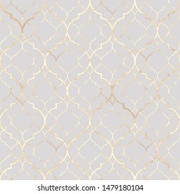 Abstract geometric seamless pattern. Vintage decorative moroccan texture with gold line. Hand drawn light gray golden background. Print for textile, wallpaper, wrapping.