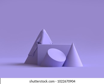 abstract geometric shape group set violet-purple minimal abstract background 3d rendering