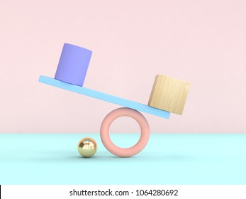 abstract geometric shape pastel colorful 3d rendering gravity concept