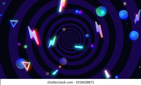Abstract geometric shapes background. Dance night club style. 3d render picture.