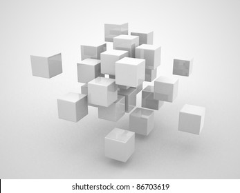 Abstract geometric shapes from cubes - 3d render