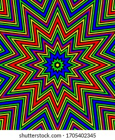 Abstract geometric star - pattern with optical illusion in a bright psychedelic colors and Op-Art style