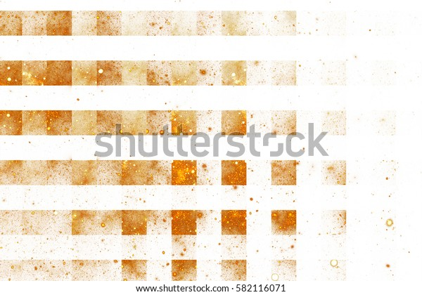 Abstract geometric texture with golden sparkles on white background. Fantasy fractal design. Digital art. 3D rendering.