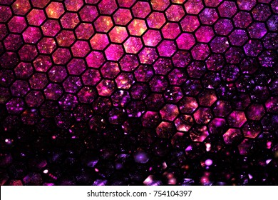 Abstract geometric texture with red, orange and purple sparkles. Fantasy hexagonal fractal pattern. Digital art. 3D rendering.