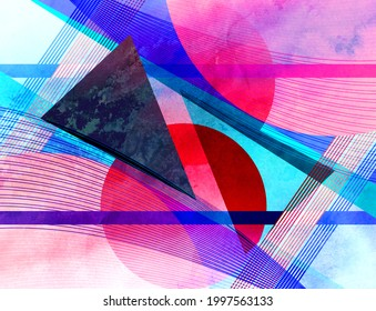 Abstract geometric watercolor retro background with bright objects. Sample design for a website or cover