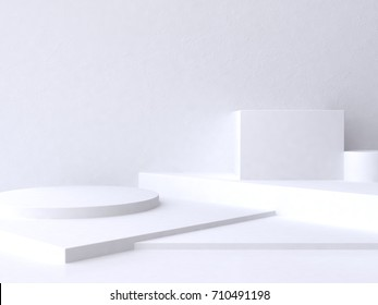 abstract geometric white floor scene 3d rendering