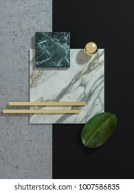 Abstract geometrical marble board composition 3D illustration