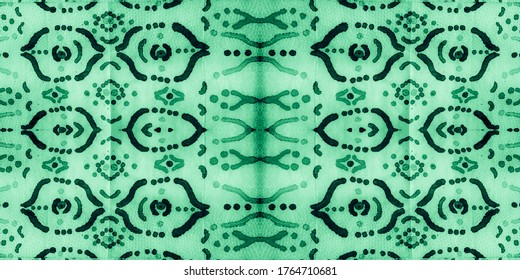 Abstract Geometrical Painting. Olive Ikat Floral. White Intricate Elements. Organic Geometric Pattern. Green Ikat Ethnic Ornament. Sage Seamless Bohemian.