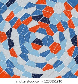 Abstract geometrical science concept. Colored voronoi low poly tesselated pattern texture. 3d rendering