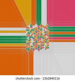 Abstract geometrical science concept. Colored voronoi low poly tesselated pattern texture. Modern covers design. 3d rendering