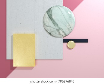 Abstract geometrical shapes natural material board 3D illustration