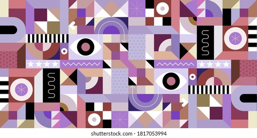 Abstract geometry art graphic illustration. Multicolored seamless background