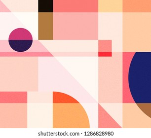 Abstract geometry pattern poster artwork with simple shapes and minimalistic figures. Swiss design graphics in Scandinavian style for branding, art presentation, fashion, prints on fabric, wallpaper.