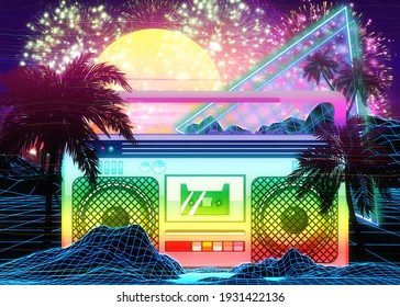 Abstract ghettoblaster, boombox retro vaporwave tropical design with palm trees.