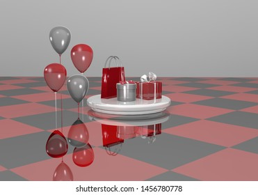 Abstract gift set in silver and red. 3d rendering
