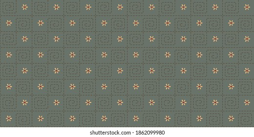Abstract gingham check geometric line shape pattern millefleurs background. Beautiful flowers endless desing. Heathered simple motif for ladies dress fabric allover print block high resolution image.