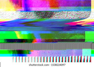 Abstract glitch art background illustration. Dark colored grunge style background with glitch effect.