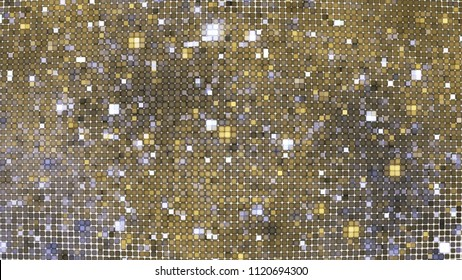 Abstract glittering geometric texture with gold and silver pixels. Fantasy fractal design. Digital art. 3D rendering.