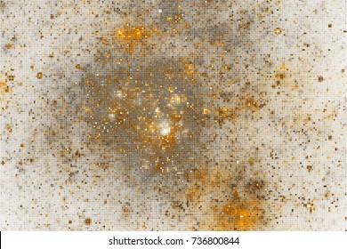 Abstract glittering geometric texture with golden sparkles on white background. Fantasy fractal design. Digital art. 3D rendering.