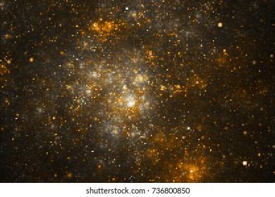 Abstract glittering geometric texture with golden sparkles on black background. Fantasy fractal design. Digital art. 3D rendering.