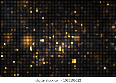 Abstract glittering geometric texture with grey and golden pixels. Fantasy fractal design. Digital art. 3D rendering.