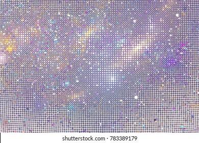 Abstract glittering geometric texture with violet, blue and golden pixels. Fantasy fractal design. Digital art. 3D rendering.
