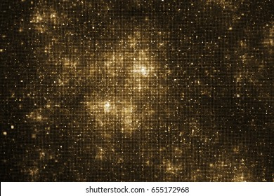Abstract glittering texture with gold sparkles on black background. Fantasy fractal design. Digital art. 3D rendering.