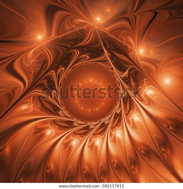 Abstract glossy flower. Fantasy fractal design in bright orange colors. Digital art. 3D rendering.