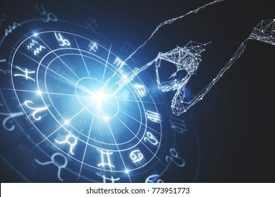 Abstract glowing astrologic zodiac horoscope background. Astrology concept. 3D Rendering