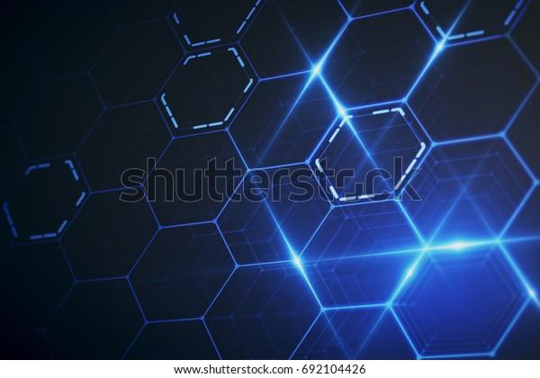 Abstrakte Leuchtende Sechseckige Tapete Technologiekonzept
