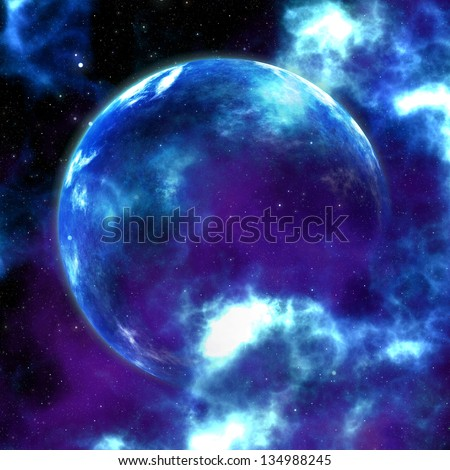 Abstract glowing blue nebula and planet space background.