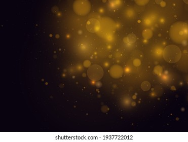 Abstract glowing bokeh lights isolated on black background. Festive golden luminous background with colorful lights bokeh. Magic concept. Christmas concept.
