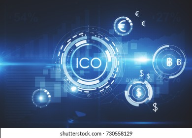Abstract glowing digital currency button ICO initial coin offering on virtual digital electronic user interface. Innovation concept. 3D Rendering
