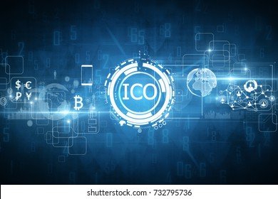 Abstract glowing digital currency button ICO initial coin offering on virtual digital electronic user interface. Technology concept. 3D Rendering