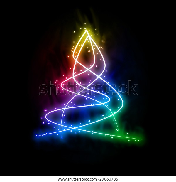 abstract glowing digital new year tree isolated on black background